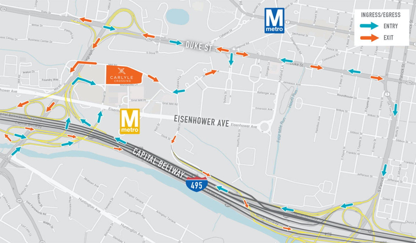 Carlyle crossing access map